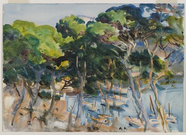John Singer Sargent (American, born Italy, 1856-1925). <em>Port of Soller</em>, 1908. Opaque and translucent watercolor with graphite underdrawing, 14 x 19 3/8 in. (35.6 x 49.2 cm). Brooklyn Museum, Purchased by Special Subscription, 09.833 (Photo: Brooklyn Museum, 09.833_PS6.jpg)