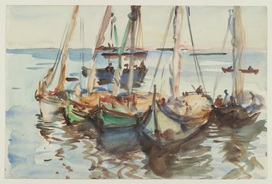 John Singer Sargent (American, born Italy, 1856-1925). <em>Portuguese Boats</em>, ca. 1903. Translucent watercolor and touches of opaque watercolor with graphite underdrawing, 12 x 18 1/16 in. (30.5 x 45.9 cm). Brooklyn Museum, Purchased by Special Subscription, 09.834 (Photo: Brooklyn Museum, 09.834_PS2.jpg)