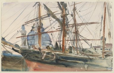 John Singer Sargent (American, born Italy, 1856-1925). <em>Rigging</em>, ca. 1905-1908. Watercolor and pencil on paper, 11 5/16 x 18 1/16 in.  (28.7 x 45.9 cm). Brooklyn Museum, Purchased by Special Subscription, 09.836 (Photo: Brooklyn Museum, 09.836_PS6.jpg)