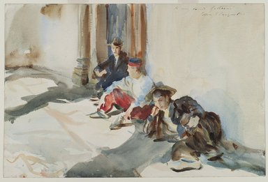 John Singer Sargent (American, born Italy, 1856-1925). <em>Spanish Soldiers</em>, ca. 1903. Translucent watercolor and touches of opaque watercolor with graphite underdrawing, 12 x 18 1/16 in. (30.5 x 45.8 cm). Brooklyn Museum, Purchased by Special Subscription, 09.839 (Photo: Brooklyn Museum, 09.839_PS2.jpg)