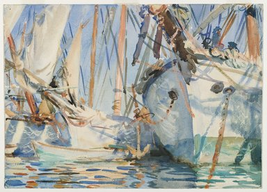John Singer Sargent (American, born Italy, 1856-1925). <em>White Ships</em>, ca. 1908. Translucent and touches of opaque watercolor and wax resist with graphite underdrawing, 13 7/8 x 19 3/8 in. (35.2 x 49.2 cm). Brooklyn Museum, Purchased by Special Subscription, 09.846 (Photo: Brooklyn Museum, 09.846_PS6.jpg)