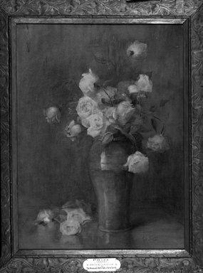 Emily Maria Scott (Spafard) (American, 1832-1915). <em>Tea Roses</em>, 19th century. Watercolor, 36 x 28 in. (91.4 x 71.1 cm). Brooklyn Museum, Gift of friends of the artist, 09.848 (Photo: Brooklyn Museum, 09.848_acetate_bw.jpg)