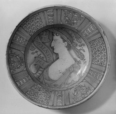 <em>Plate</em>, 16th century. Ceramic, 15 1/2 in. (39.4 cm). Brooklyn Museum, 09.865. Creative Commons-BY (Photo: Brooklyn Museum, 09.865_acetate_bw.jpg)