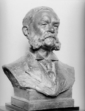 Solon H. Borglum (American, 1868-1922). <em>Charles A. Schieren</em>, 1909. Bronze, 20 5/8 x 17 3/8 x 12 1/8 in. (52.4 x 44.1 x 30.8 cm). Brooklyn Museum, Gift of Charles A. Schieren, 09.876. Creative Commons-BY (Photo: Brooklyn Museum, 09.876_bw.jpg)