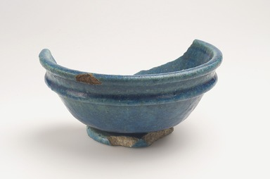 <em>Fragmentary Bowl</em>, 30 B.C.E.-100 C.E. Faience, 2 11/16 × Diam. 5 3/4 in. (6.8 × 14.6 cm). Brooklyn Museum, Museum Collection Fund, 09.881. Creative Commons-BY (Photo: Brooklyn Museum, 09.881_view1.jpg)