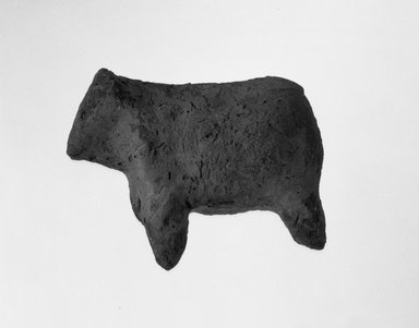 <em>Figurine of a Calf (?)</em>, ca. 3800-3300 B.C.E. Terracotta, 1 7/8 x 1 3/16 x 2 1/4 in. (4.8 x 3 x 5.7 cm). Brooklyn Museum, Charles Edwin Wilbour Fund, 09.889.324. Creative Commons-BY (Photo: Brooklyn Museum, 09.889.324_side_bw.jpg)