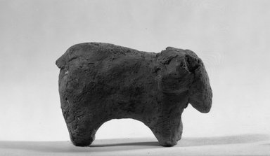 <em>Figurine of an Elephant</em>, ca. 3850-3300 B.C.E. Terracotta, 1 3/4 x 7/8 x 2 13/16 in. (4.5 x 2.3 x 7.1 cm). Brooklyn Museum, Charles Edwin Wilbour Fund, 09.889.325. Creative Commons-BY (Photo: Brooklyn Museum, 09.889.325_side_bw.jpg)