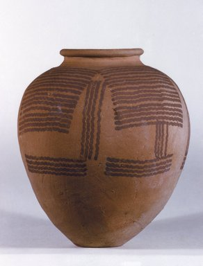 <em>Ovoid Urn</em>, ca. 3100-2675 B.C.E. Terracotta, pigment, 7 5/8 x Greatest Diam. 6 3/4 in. (19.4 x 17.1 cm). Brooklyn Museum, Charles Edwin Wilbour Fund, 09.889.418. Creative Commons-BY (Photo: Brooklyn Museum, 09.889.418.jpg)