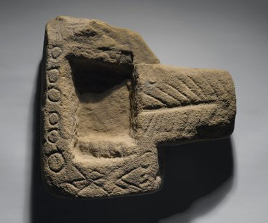 Roman ?. <em>Offering Table</em>, 305 B.C.E.-395 C.E. Sandstone, 10 7/8 x 3 7/16 x 10 1/8 in. (27.7 x 8.7 x 25.7 cm). Brooklyn Museum, Charles Edwin Wilbour Fund, 09.889.807a. Creative Commons-BY (Photo: Brooklyn Museum, 09.889.807a_view1_PS2.jpg)