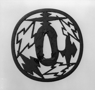 <em>Sword Guard</em>, 17th-18th century. Iron, 3 1/8 x 3 1/8 in. (8 x 8 cm). Brooklyn Museum, Museum Expedition 1909, Purchased with funds given by Thomas T. Barr, E. LeGrand Beers, Carll H. de Silver, Herman B. Stutzer, Colonel Robert B. Woodward and the Museum Collection Fund, 09.915.3. Creative Commons-BY (Photo: Brooklyn Museum, 09.915.3_front_bw.jpg)