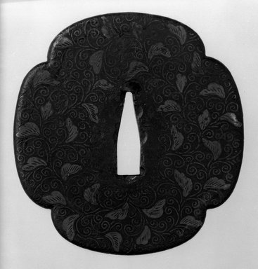 <em>Sword Guard</em>, 17th century. Iron, brass, copper, 3 3/8 x 3 1/4 in. (8.6 x 8.2 cm). Brooklyn Museum, Museum Expedition 1909, Purchased with funds given by Thomas T. Barr, E. LeGrand Beers, Carll H. de Silver, Herman B. Stutzer, Colonel Robert B. Woodward and the Museum Collection Fund, 09.915.4. Creative Commons-BY (Photo: Brooklyn Museum, 09.915.4_front_bw.jpg)
