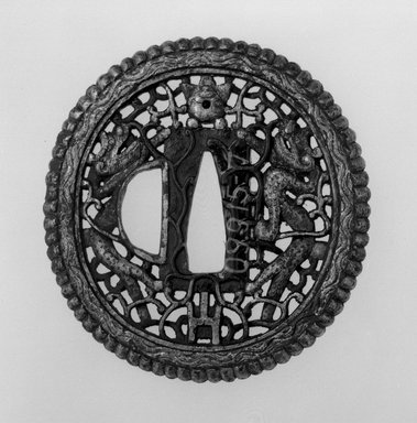 <em>Sword Guard</em>, 18th century (possibly). Iron with gilt areas, gold, 1/4 x 2 3/4 in. (0.6 x 7 cm). Brooklyn Museum, Museum Expedition 1909, Purchased with funds given by Thomas T. Barr, E. LeGrand Beers, Carll H. de Silver, Herman B. Stutzer, Colonel Robert B. Woodward and the Museum Collection Fund, 09.915.7. Creative Commons-BY (Photo: Brooklyn Museum, 09.915.7_front_bw.jpg)