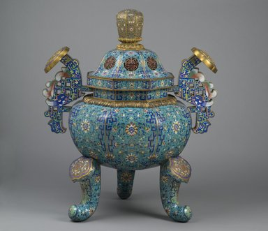 <em>Tripod Censer</em>, late 18th century. Cloisonné and champlevé enamel, 42 × 34 × 27 in., 84 lb. (106.7 × 86.4 × 68.6 cm, 38.1kg). Brooklyn Museum, Gift of Samuel P. Avery, 09.933.1. Creative Commons-BY (Photo: Brooklyn Museum, 09.933.1_PS2.jpg)