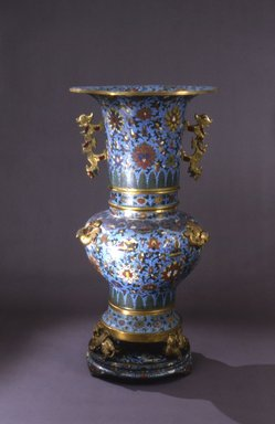 <em>Grand Imperial Vase</em>, 17th-mid 18th century. Cloisonné enamel on copper alloy, gilt bronze, semi-precious stones, 41 1/2 x 22 in. (105.4 x 55.9 cm). Brooklyn Museum, Gift of Samuel P. Avery, 09.933.2. Creative Commons-BY (Photo: Brooklyn Museum, 09.933.2.jpg)