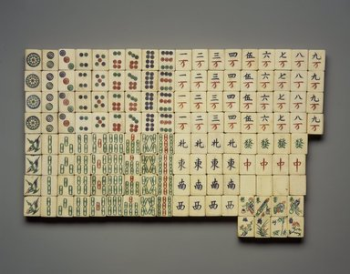 <em>Game Pieces for Mah Jong or Chinese Dominos</em>, 1909 or before. Bamboo, ivory and pigment, Each piece: 1 x 13/16 x 1/2 in. (2.6 x 2 x 1.3 cm). Brooklyn Museum, Museum Expedition 1909, Purchased with funds given by Thomas T. Barr, E. LeGrand Beers, Carll H. de Silver, Herman B. Stutzer, Colonel Robert B. Woodward and the Museum Collection Fund, 09.943 (Photo: Brooklyn Museum, 09.943.jpg)