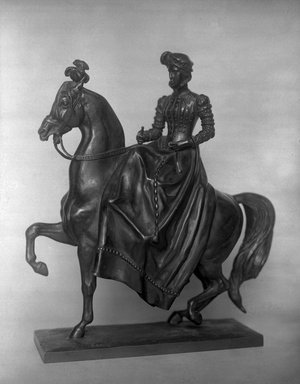 Antoine-Louis Barye (French, 1795-1875). <em>Lady on Horseback</em>. Bronze, 15 1/4 x 13 1/2 x 5 1/8 in. (38.7 x 34.3 x 13 cm). Brooklyn Museum, Purchased by Special Subscription, 10.109. Creative Commons-BY (Photo: Brooklyn Museum, 10.109_glass_bw.jpg)