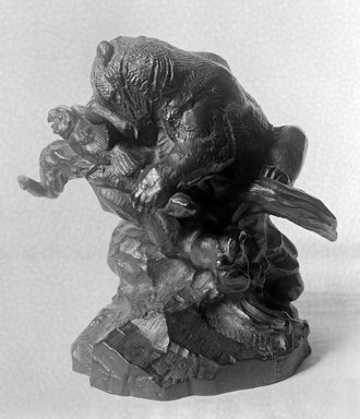 Antoine-Louis Barye (French, 1795-1875). <em>Bear on a Tree, Devouring an Owl (Ours Monté sur un arbre, mangeant un hibou)</em>, n.d. Bronze, 7 1/2 x 4 x 7 1/4 in. (19.1 x 10.2 x 18.4 cm). Brooklyn Museum, Purchased by Special Subscription, 10.110. Creative Commons-BY (Photo: Brooklyn Museum, 10.110_glass_bw.jpg)