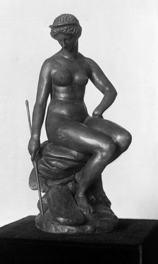 Antoine-Louis Barye (French, 1795-1875). <em>Juno (Junon)</em>, modeled ca. 1840; cast date unknown. Bronze, 11 x 5 x 6 1/2 in. (27.9 x 12.7 x 16.5 cm). Brooklyn Museum, Purchased by Special Subscription, 10.114. Creative Commons-BY (Photo: Brooklyn Museum, 10.114_glass_bw.jpg)