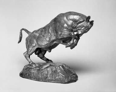 Antoine-Louis Barye (French, 1795-1875). <em>Rearing Bull (Taureau cabré)</em>, modeled 1841; cast date unknown. Bronze, With base: 8 1/2 x 11 x 4 in. (21.6 x 27.9 x 10.2 cm). Brooklyn Museum, Purchased by Special Subscription, 10.116. Creative Commons-BY (Photo: Brooklyn Museum, 10.116_bw.jpg)