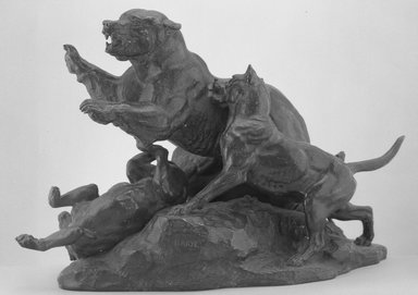 Antoine-Louis Barye (French, 1795-1875). <em>Bear Fleeing Dogs (Ours fuyant des chiens)</em>, model date unknown; cast after 1870. Bronze, 12 3/4 x 18 1/4 x 7 1/2 in. (32.4 x 46.4 x 19.1 cm). Brooklyn Museum, Purchased by special subscription, 10.118. Creative Commons-BY (Photo: Brooklyn Museum, 10.118_acetate_bw.jpg)