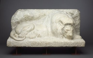 Alexander Phimister Proctor (American, 1862-1950). <em>Lion</em>, 1912. Marble, 27 1/2 x 54 1/2 x 26 in., 2848 lb. (69.9 x 138.4 x 66 cm, 1291.84kg). Brooklyn Museum, General John B. Woodward Statue Fund, 10.119. Creative Commons-BY (Photo: Brooklyn Museum, 10.119.jpg)