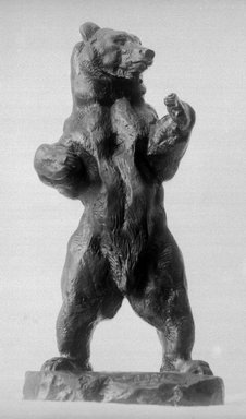 Antoine-Louis Barye (French, 1795-1875). <em>Bear Standing</em>. Bronze, 9 7/8 x 4 3/4 x 3 7/8 in. (25.1 x 12.1 x 9.8 cm). Brooklyn Museum, Purchased by Special Subscription, 10.121. Creative Commons-BY (Photo: Brooklyn Museum, 10.121_glass_bw.jpg)