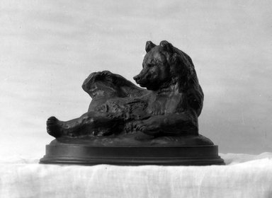 Antoine-Louis Barye (French, 1795-1875). <em>Seated Bear (Ours assis, ou Ours couché)</em>, modeled 1833; cast date unknown. Bronze, 5 1/2 x 8 x 5 1/2 in. (14 x 20.3 x 14 cm). Brooklyn Museum, Purchased by Special Subscription, 10.122. Creative Commons-BY (Photo: Brooklyn Museum, 10.122_glass_bw.jpg)