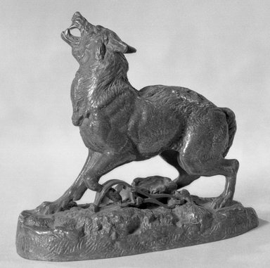 Antoine-Louis Barye (French, 1795-1875). <em>Wolf Taken in a Trap (Loup pris au piège)</em>, n.d. Bronze, 4 1/2 x 5 x 2 1/4 in. (11.4 x 12.7 x 5.7 cm). Brooklyn Museum, Purchased by Special Subscription, 10.134. Creative Commons-BY (Photo: Brooklyn Museum, 10.134_acetate_bw.jpg)