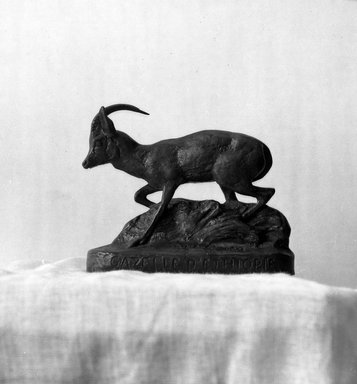 Antoine-Louis Barye (French, 1795-1875). <em>Ethiopian Gazelle</em>. Bronze, 3 1/2 x 4 5/16 x 1 9/16 in. (8.9 x 11 x 4 cm). Brooklyn Museum, Purchased by Special Subscription, 10.137. Creative Commons-BY (Photo: Brooklyn Museum, 10.137_glass_bw.jpg)