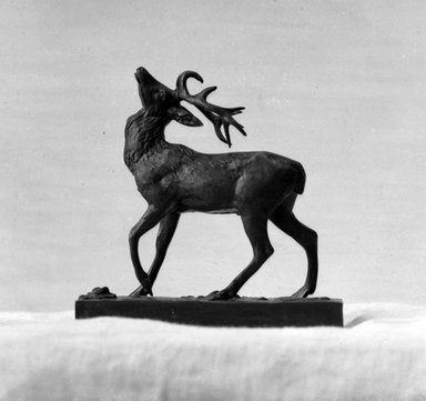 Antoine-Louis Barye (French, 1795-1875). <em>Wounded Stag</em>. Bronze, 4 5/16 x 4 5/16 x 1 5/8 in. (11 x 11 x 4.1 cm). Brooklyn Museum, Purchased by Special Subscription, 10.141. Creative Commons-BY (Photo: Brooklyn Museum, 10.141_glass_bw.jpg)