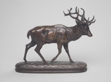 Antoine-Louis Barye (French, 1795-1875). <em>Stag Walking</em>. Bronze, 7 1/8 x 8 1/4 in. (18.1 x 21 cm). Brooklyn Museum, Purchased by Special Subscription, 10.142. Creative Commons-BY (Photo: Brooklyn Museum, 10.142.jpg)