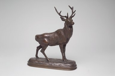 Antoine-Louis Barye (French, 1795-1875). <em>Listening Stag (Cerf qui écoute)</em>, modeled 1838; cast date unknown. Bronze, 7 1/2 x 6 3/8 x 2 3/8 in. (19.1 x 16.2 x 6 cm). Brooklyn Museum, Purchased by Special Subscription, 10.143. Creative Commons-BY (Photo: Brooklyn Museum, 10.143.jpg)