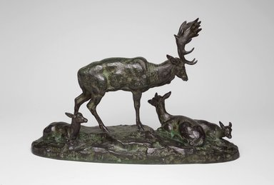 Antoine-Louis Barye (French, 1795-1875). <em>Buck, Doe, and Two Fawns, or Family of Deer (Daim, daine et deux faons, ou Famille de Daim)</em>. Bronze, 7 1/4 x 10 7/8 x 3 3/4 in. (18.4 x 27.6 x 9.5 cm). Brooklyn Museum, Purchased by Special Subscription, 10.145. Creative Commons-BY (Photo: Brooklyn Museum, 10.145.jpg)
