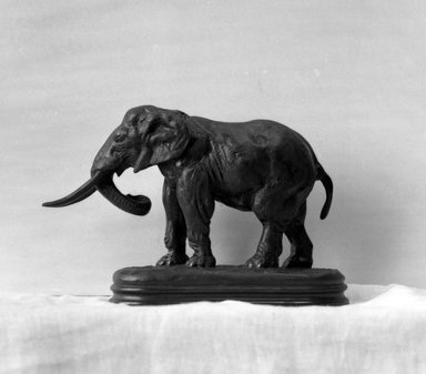 Antoine-Louis Barye (French, 1795-1875). <em>African Elephant</em>. Bronze, 5 1/4 x 7 7/8 x 2 5/8 in. (13.3 x 20 x 6.7 cm). Brooklyn Museum, Purchased by Special Subscription, 10.149. Creative Commons-BY (Photo: Brooklyn Museum, 10.149_glass_bw.jpg)