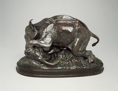 Antoine-Louis Barye (French, 1795-1875). <em>Elephant Crushing a Tiger (Éléphant écrasant un tigre)</em>. Bronze, With base: 9 x 7 x 14 in. (22.9 x 17.8 x 35.6 cm). Brooklyn Museum, Purchased by Special Subscription, 10.154. Creative Commons-BY (Photo: Brooklyn Museum, 10.154.jpg)