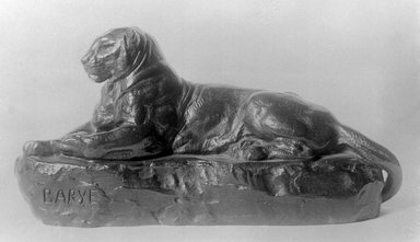 Antoine-Louis Barye (French, 1795-1875). <em>Panther Reclining</em>. Bronze, 4 x 8 in. (10.2 x 20.3 cm). Brooklyn Museum, Purchased by Special Subscription, 10.156. Creative Commons-BY (Photo: Brooklyn Museum, 10.156_glass_bw.jpg)