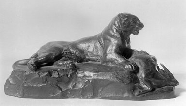 Antoine-Louis Barye (French, 1795-1875). <em>Reclining Panther Holding a Muntjac Deer (Panthère couchée tenant un cerf muntjac)</em>, n.d. Bronze, 4 1/4 x 8 1/2 x 3 3/4 in. (10.8 x 21.6 x 9.5 cm). Brooklyn Museum, Purchased by Special Subscription, 10.159. Creative Commons-BY (Photo: Brooklyn Museum, 10.159_glass_bw.jpg)