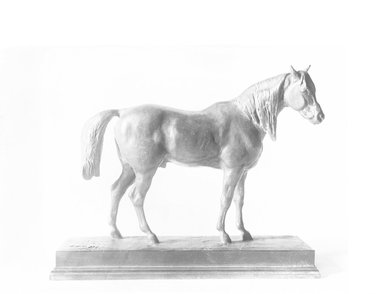 Antoine-Louis Barye (French, 1795-1875). <em>Half-Blood Horse with Raised Head</em>. Bronze, 5 1/2 x 6 7/8 in. (14 x 17.5 cm). Brooklyn Museum, Purchased by Special Subscription, 10.161. Creative Commons-BY (Photo: Brooklyn Museum, 10.161_glass_bw.jpg)