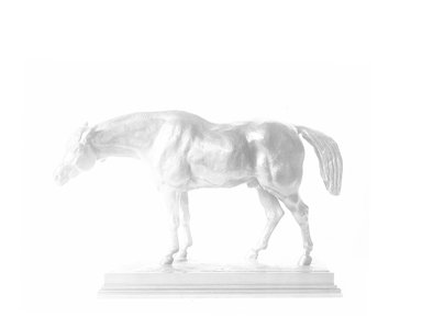 Antoine-Louis Barye (French, 1795-1875). <em>Half-Blood Horse with Lowered Head</em>. Bronze, 7 1/2 x 11 1/2 in. (19.1 x 29.2 cm). Brooklyn Museum, Purchased by Special Subscription, 10.162. Creative Commons-BY (Photo: Brooklyn Museum, 10.162_glass_bw.jpg)