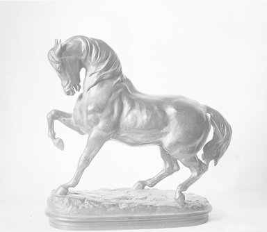 Antoine-Louis Barye (French, 1795-1875). <em>Turkish Horse</em>. Bronze, 11 1/2 x 11 in. (29.2 x 27.9 cm). Brooklyn Museum, Purchased by Special Subscription, 10.163. Creative Commons-BY (Photo: Brooklyn Museum, 10.163_glass_bw.jpg)