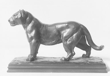 Antoine-Louis Barye (French, 1795-1875). <em>Jaguar Standing</em>. Bronze, 5 x 7 3/4 in. (12.7 x 19.7 cm). Brooklyn Museum, Purchased by Special Subscription, 10.166. Creative Commons-BY (Photo: Brooklyn Museum, 10.166_glass_bw.jpg)