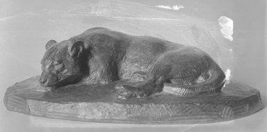 Antoine-Louis Barye (French, 1795-1875). <em>Sleeping Jaguar (Jaguar dormant)</em>. Bronze, 3 1/2 x 12 3/8 x 6 1/4 in. (8.9 x 31.4 x 15.9 cm). Brooklyn Museum, Purchased by Special Subscription, 10.169. Creative Commons-BY (Photo: Brooklyn Museum, 10.169_glass_bw.jpg)
