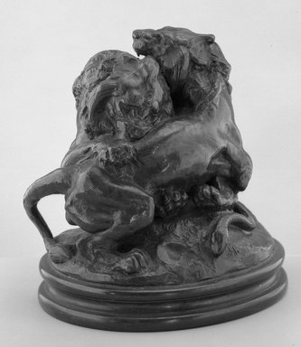 Antoine-Louis Barye (French, 1795-1875). <em>Two Young Lions (Deux jeunes lions)</em>. Bronze, 7 1/2 x 7 1/2 x 5 7/8 in. (19.1 x 19.1 x 14.9 cm). Brooklyn Museum, Purchased by Special Subscription, 10.173. Creative Commons-BY (Photo: Brooklyn Museum, 10.173_acetate_bw.jpg)