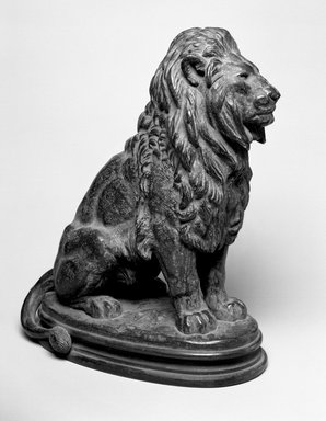 Antoine-Louis Barye (French, 1795-1875). <em>Seated Lion, No. 1 (Lion Assis No 1)</em>. Bronze, With base: 14 1/4 x 7 1/2 x 12 in. (36.2 x 19.1 x 30.5 cm). Brooklyn Museum, Purchased by Special Subscription, 10.179. Creative Commons-BY (Photo: Brooklyn Museum, 10.179_bw.jpg)
