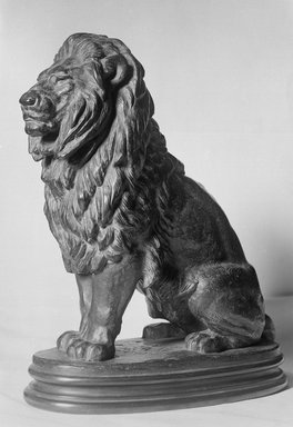 Antoine-Louis Barye (French, 1795-1875). <em>Seated Lion</em>. Bronze, 8 x 6 1/4 in. (20.3 x 15.9 cm). Brooklyn Museum, Purchased by Special Subscription, 10.182. Creative Commons-BY (Photo: Brooklyn Museum, 10.182_glass_bw.jpg)