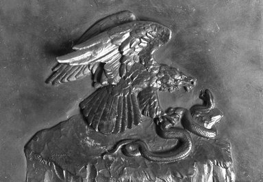 Antoine-Louis Barye (French, 1795-1875). <em>Eagle with Serpent (Aigle avec serpent)</em>, modeled ca. 1824-1826, cast date unknown. Bronze, 4 x 5 11/16 in. (10.2 x 14.4 cm). Brooklyn Museum, Purchased by Special Subscription, 10.188. Creative Commons-BY (Photo: Brooklyn Museum, 10.188_glass_bw.jpg)