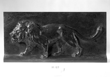 Antoine-Louis Barye (French, 1795-1875). <em>Lion Walking</em>. Bronze, 7 7/8 x 6 1/8 in. (20 x 15.6 cm). Brooklyn Museum, Purchased by Special Subscription, 10.189. Creative Commons-BY (Photo: Brooklyn Museum, 10.189_bw.jpg)