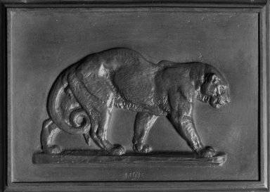 Antoine-Louis Barye (French, 1795-1875). <em>Leopard</em>. Bronze, 4 1/8 x 5 11/16 in. (10.5 x 14.4 cm). Brooklyn Museum, Purchased by Special Subscription, 10.192. Creative Commons-BY (Photo: Brooklyn Museum, 10.192_glass_bw.jpg)