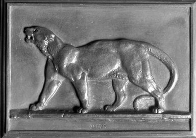 Antoine-Louis Barye (French, 1795-1875). <em>Puma</em>, 1831. Bronze, 4 1/8 x 5 3/4 in. (10.5 x 14.6 cm). Brooklyn Museum, Purchased by Special Subscription, 10.193. Creative Commons-BY (Photo: Brooklyn Museum, 10.193_glass_bw.jpg)