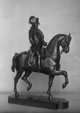 Antoine-Louis Barye (French, 1795-1875). <em>Napoleon on Horseback</em>. Bronze, 18 x 13 3/4 x 5 1/4 in. (45.7 x 34.9 x 13.3 cm). Brooklyn Museum, Purchased by Special Subscription, 10.199. Creative Commons-BY (Photo: Brooklyn Museum, 10.199_glass_bw.jpg)